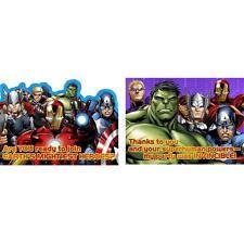 Avengers Assemble Marvel Superhero Birthday Party Invitations & Thank You Notes