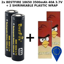2x BATTERY BESTFIRE 18650 FLAT TOP 3500mAh 3.7v 40A RECHARGEABLE BATTERIA + WRAP