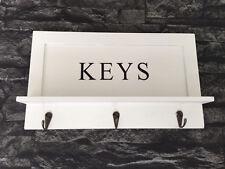 Ganchos clave pintado de blanco Estante De Madera Colgante De Pared Diseño Contemporáneo 3 Ganchos