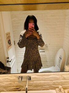 Pull & Bear Size S Leopard Print Long Sleeve Mini Dress