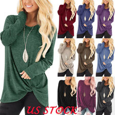 USA Womens Tunic Tops Long Sleeve Casual Loose Tops Blouse Fashion Shirt T-Shirt