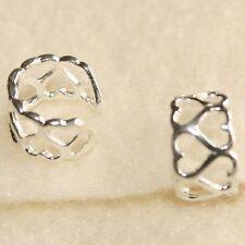 Sterling Silver Ear Cuff Wrap Open Hearts Non Pierced Earring Clip on Boxed
