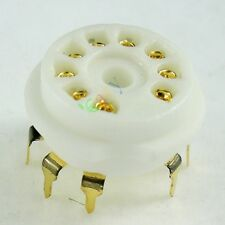 8pc GOLD 9pin PCB Ceramic vacuum tube sockets for 12AX7 12AU7 ECC83 ECC82 audio