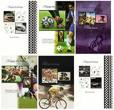 Assorted Pack Of 6 Birthday Cards Male Sports Designs Greeting Card Bundles