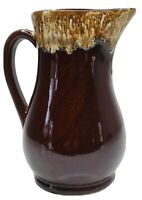"""Roseville Pottery U.S.A. 7.5"""" Brown Drip Pitcher RRP Co. Excellent Condition"""