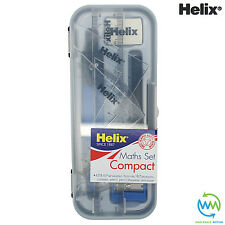 HELIX Compact MATHS GEOMETRY SET Compass Ruler Protractor Sharpener SCHOOL Exam
