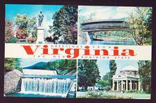 VIRGINIA VA Greetings from.....  Four View Vintage  Postcard