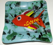 """Gold Fish Fused Glass Art Plate 6"""" Square, Bright Colors 1 of a Kind Original"""