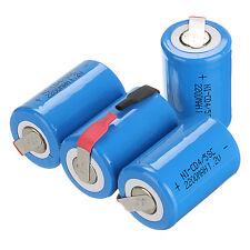 4 x NiCd 4/5 SubC Sub C 1.2V 2200mAh Wiederaufladbare Batterie mit Tab Blau Akku