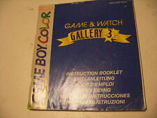 Retrogaming NINTENDO GBA Game Boy COLOR Notice GAME & WATCH GALLERY 3 Manual