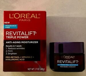 Loreal Revitalift Triple Power Anti-Aging Moisturizer Fragrance Free 1.7 0z