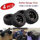 4PCS RC Rubber Tires Set Tyre Wheel Rim For HPI HSP Traxxas 1:10 RC Monster Cars