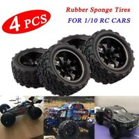 4PCS RC Rubber Tires Set Tyre Wheel Rim For HPI HSP Traxxas 1:10 RC Monster Cars
