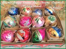 Stunning Antique Vintage Large Poland Hand Paint Blown Glass Xmas Tree Ornaments