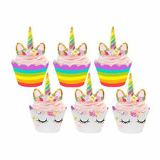 Baby Shower Rainbow Unicorn Cupcake Cake Wrappers Toppers Kids Birthday 24 Sets