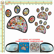 adesivi serbatoio specchietti IMPRONTA sticker bomb FOOTPRINT auto mirror 3 pz