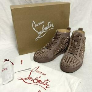 Christian Louboutin Auth Suede High-top sneakers Pink brown 35 Used from Japan
