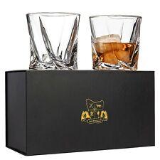 Bourbon, Whiskey, Scotch, Rocks Glasses - Lead Free Crystal. Set of 2 Gift Box.