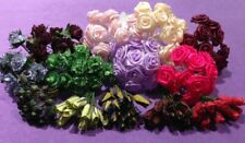 Job Lot 150 + Paper Flower Ribbon Roses Buds Craft Embellishments Bargain