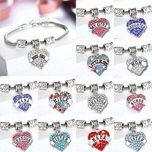 Heart Family Crystal Mom Sister Sis Nana Bracelet Bangle Women Jewelry Xmas Gift