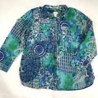 Chicos Womens Blouse Green Blue Paisely Button Down Roll Tab Sleeve Size 3 XL/16