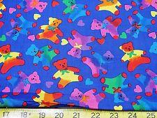 15 YARD BOLT BLUE RAINBOW MULTI TEDDY BEARS COTTON FABRIC HOFFMAN  wholesale
