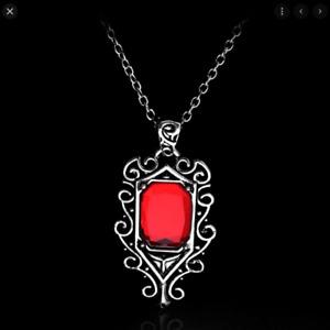 Mortal City Bones Isabelle Lightwood's Red Necklace Vampire Halloween Silver