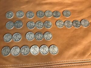 1918-1945  Walking Liberty half dollar coin 90% silver 27 count