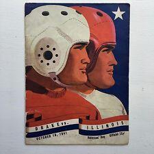 1941 Illinois Fighting Illini football program vs. Drake VG very presentable
