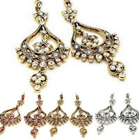 ICON 2.75 in CLEAR PINK GOLD CRYSTAL PEAR DANGLE GOLD SILVER HOOK EARRINGS NEW