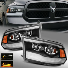 NEW 2019 Look for 09-18 Ram 1500/2500/3500 Black Dual Projector Headlights LH/RH