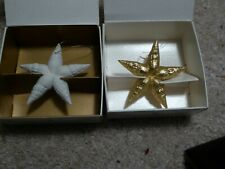 "New listing 2 Margaret Furlong 3"" Morning Star Ornaments 1980 White & 1992 Gold"