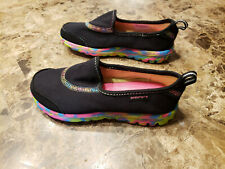 New Skechers Go Walk Black & Rainbow Sneakers Girls Size 13 Light Weight Slip On