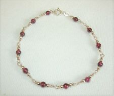 Bracelet 12 Garnet & 24 Silver Beads , 7 inches, Jump Ring Clasp, Stamped 925