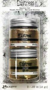 Tim Holtz Distress Holiday Sparkle Set - Gold Tinsel & Garland Glitter