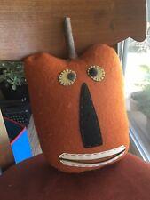 """Halloween Pumpkin Face Pillow Felt W/ Wood Stem Hand Made Country 14.5"""" Tall"""