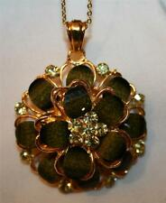 Handsome Layered Rhinestone Olive Loden Green Flower Goldtone Pendant Necklace