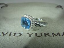 AUTHENTIC DAVID YURMAN S.SILVER NOBLESSE BLUE TOPAZ PAVE DIAMOND RING SIZE 5