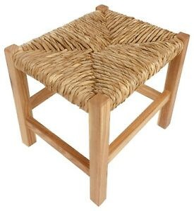 Rustic Woven Raffia Top Stool 30cm Wooden Sitting Seat Display Side Table Decor