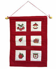 Red Counted Cross Stitch Wall Hanging Apples Cherries Kitchen Fruit Decor