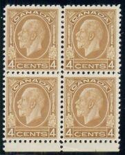 CANADA #198 4¢ ocher, Block of 4, og, NH, VF, Scott $380.00