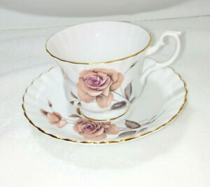 Vintage Royal Albert Bone China, Pink Rose Fluted Tea Cup & Saucer.