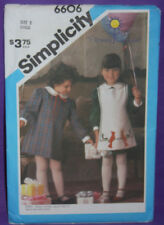 UNCUT VTG Simplicity 6606 Pattern Sz 5 Girls Applique Dress & Apron (137)