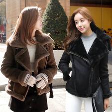 Womens Lambswool Coat Aviator Leather Jacket Winter Thick Real Lamb Fur Jacket