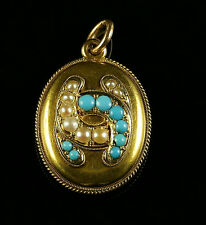 ANTIQUE VICTORIAN TURQUOISE  PEARL LOCKET  18CT GOLD  HORSE SHOE