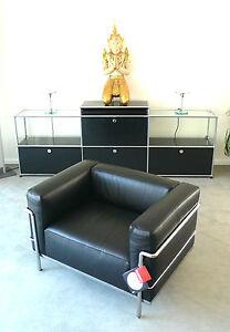 Cassina Le Corbusier LC 3 Sessel, Leder schwarz, Chrom, Top, inkl. MwSt.!