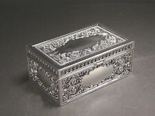 Silver Color Decorated Jewellery Trinket Box Lined With Dark Velveteen Design #8