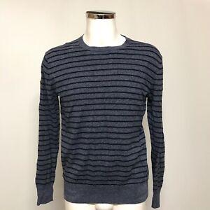 Superdry Pullover Jumper Mens Size UK L Grey Blue Striped Long Sleeved 430276