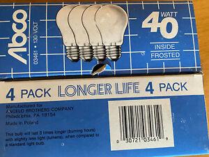 ABCO 03461 130V Frosted Incandescent 40Watt Bulb 4 Pack Brass Medium Base NEW