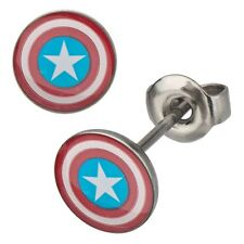 Official Captain America Shield Logo S Steel Stud Earrings - Marvel Avengers